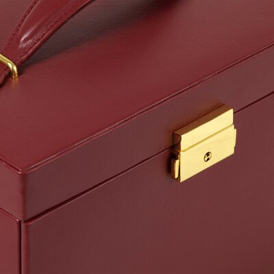 Wolf Designs Heritage Chelsea Large Jewelry Case with Three Drawers and Travel Case in Scarlet