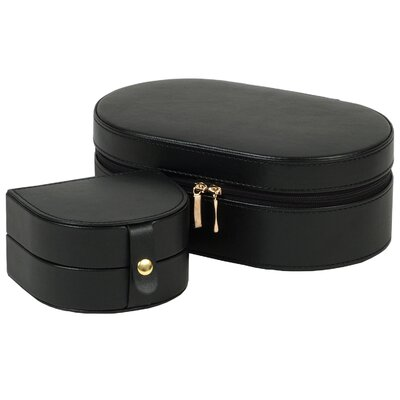 Wolf Designs Heritage Chelsea Oval Zip Travel Case in Black