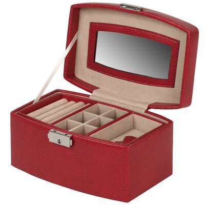 Wolf Designs Heritage South Molton Medium Jewelry Box with Travel Case in Red