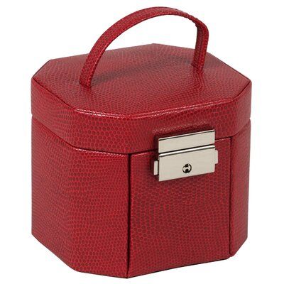 Wolf Designs Heritage South Molton Travel Mini Octagon Jewelry Box in Red