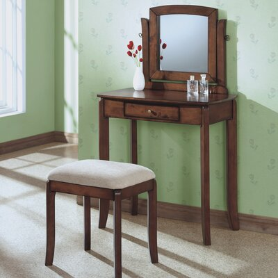 Monarch Specialties Inc. Vanity Set in Walnut with Beige Stool