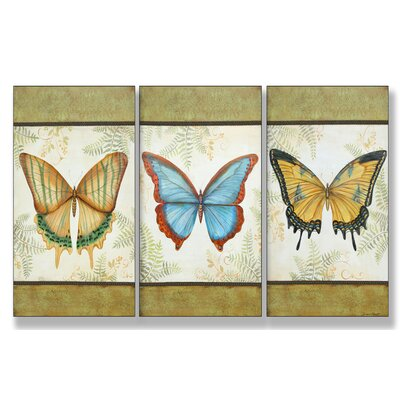 Stupell Industries Le Papillon Triptych Wall Art