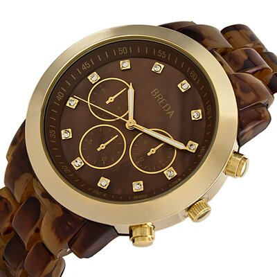 Breda Women's Brooke Oversized Mother of Pearl Watch in Tortoise / Gold