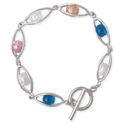 CZ Collections Multicolor Briolette Balls in Oval Shape Sterling Silver Bracelet