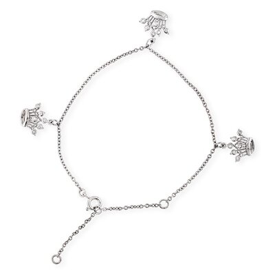 Queen Crown Charms Sterling Silver Diamond Bracelet