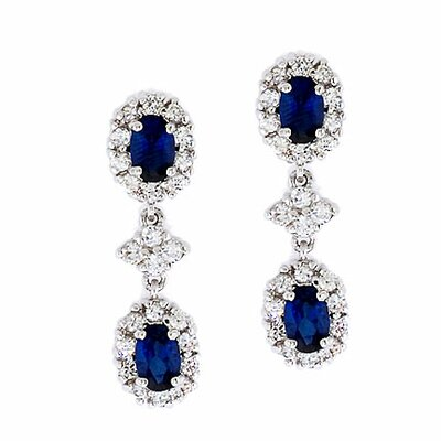 Oval Simulated Sapphire Diamond Drop Earrings