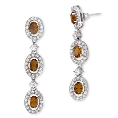 Prong-Set Simulated Smoked Citrine Diamond Trio Oval Drop Earrings