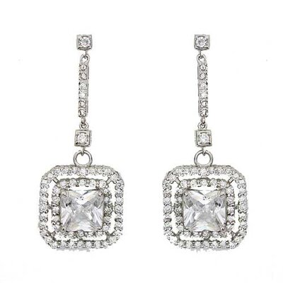 CZ Collections Square Drop Sterling Silver Earrings