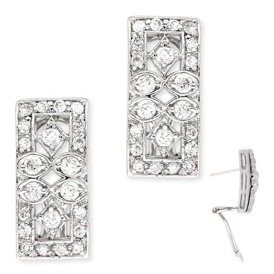 CZ Collections cubic zirconia Round Diamond Rectangle Clip with Post Earrings