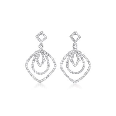 CZ Collections Tripple Outlined Dangling Rhodium Plated Earrings