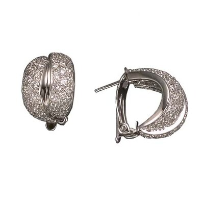 CZ Collections Double Clip Rhodium Plated (.925) Sterling Silver Earrings