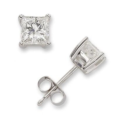 CZ Collections 2 CT Princess Cut Diamond Stud Bridal Jewelry Earrings