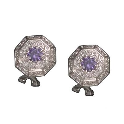 Amethyst (Stop Sign) Rhodium Plated Earrings