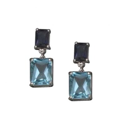 Sapphire and Blue Topaz Rhodium Plated (.925) Sterling Silver Earrings