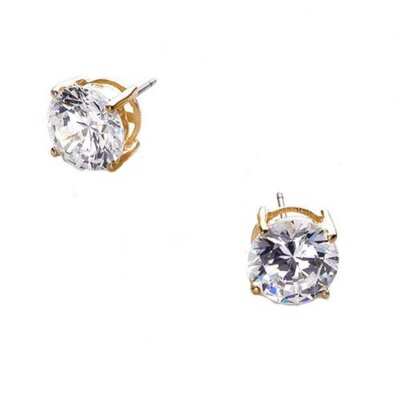 CZ Collections 2 CT TW cubic zirconia Diamond Vermeil Stud Earrings