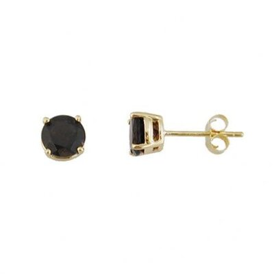 CZ Collections Black Onyx cubic zirconia Diamond Vermeil Stud Earrings