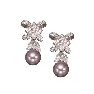CZ Collections Pink Pearl Rhodium Plated Earrings