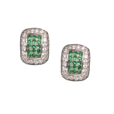 Emerald Clip / Post Rhodium Plated Earrings