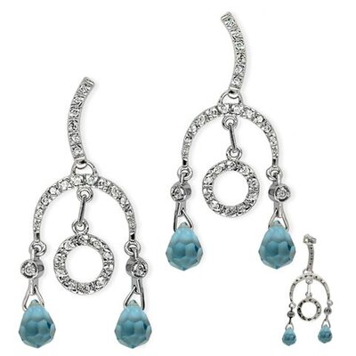Blue Topaz Briolette Circular Drop Earrings