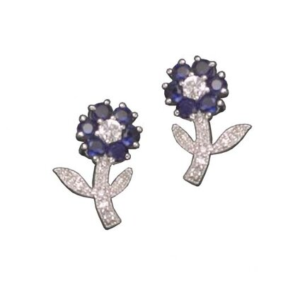 Sapphire Post Rhodium Plated Earrings