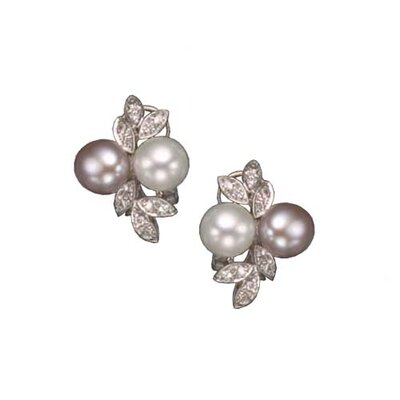 White and Pink Pearl Rhodium Plated Earrings