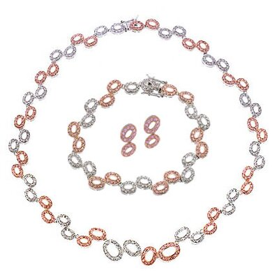 CZ Collections Oval Link Bubble Rose Gold Silver Set