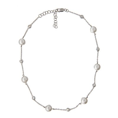 Classic Imitation Pearl Round Diamond Stationed Necklace