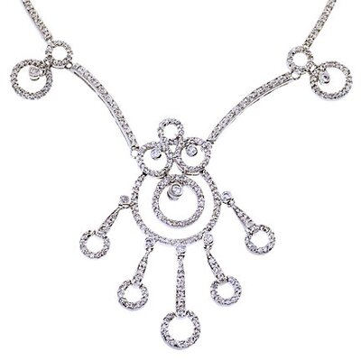 CZ Collections Circle Madness Diamond Sterling Silver Necklace