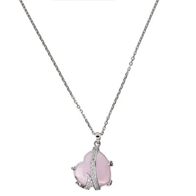 Simulated Baby Pink Gemstone Diamond Wrapped Heart Pendant