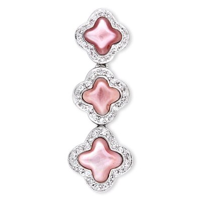 CZ Collections Mother of Pearl Inlay Diamond Triple Clover Pendant
