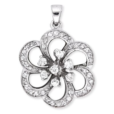 CZ Collections Diamond Silver Blooming Openwork Flower Pendant