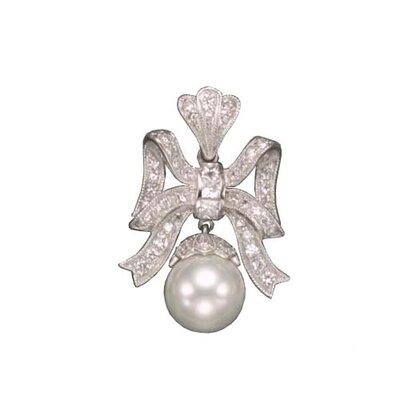 CZ Collections Pear Bow Enhancer Rhodium Pendant