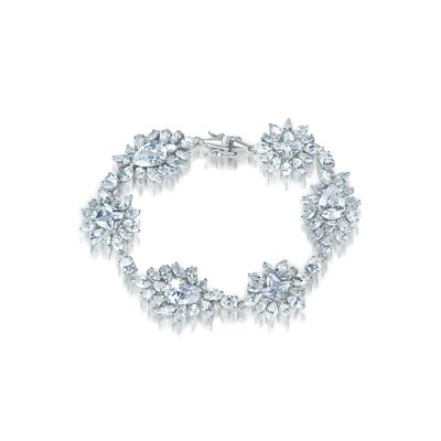 CZ Collections Cubic Zirconia and Pear Shape Stone Bracelet