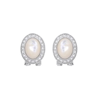 Circle Pearl Cubic Zirconia Earrings