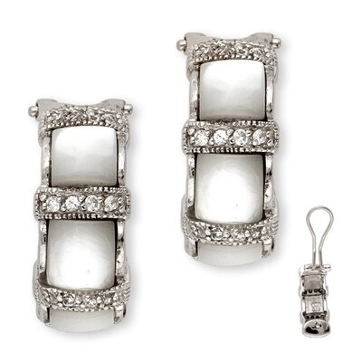 CZ Collections Mother-of-Pearl Inlay Cubic Zirconia Diamond Clip Earrings