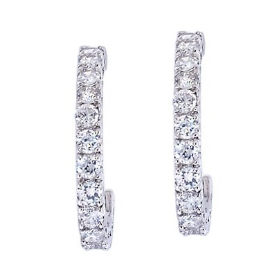 Jennifer Lopez Inspired Cubic Zirconia Diamond Hoop Earrings