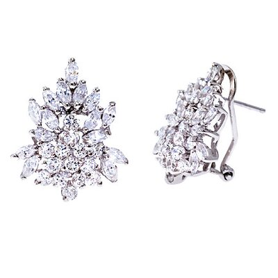 Bridal Round Cubic Zirconia Diamond Cluster Earrings