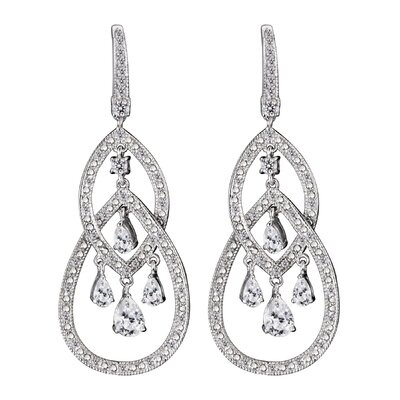CZ Collections Boisseau Pear Cubic Zirconia Chandelier Earrings