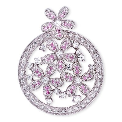 CZ Collections Cubic Zirconia Sapphire Diamond Flower Sterling Silver Circle Pendant