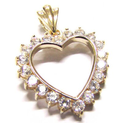 CZ Collections Large Cubic Zirconia Heart Pendant