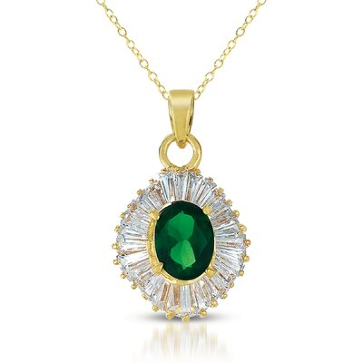 CZ Collections Baguette Oval Cubic Zirconia Pendant