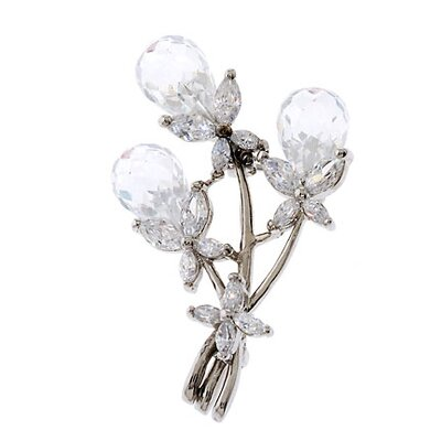 CZ Collections Flower Bouquet Briolette Clear Crystal Cubic Zirconia Diamond Silver Pin
