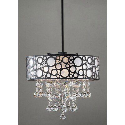 Polka 4 Light Crystal Drum Foyer Pendant