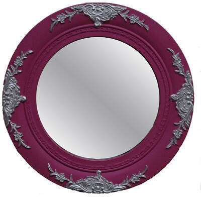 Baby Girl Round Framed Mirror in Hot Pink