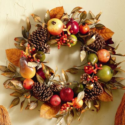 TAG Fall Fruit and Pinecone Wreath