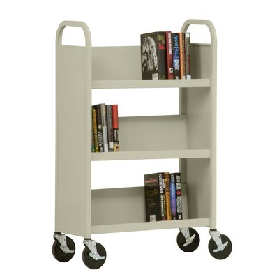 Sandusky Cabinets 27&quot; W Single Sided Sloped-Shelf Mobile Book Truck in Putty