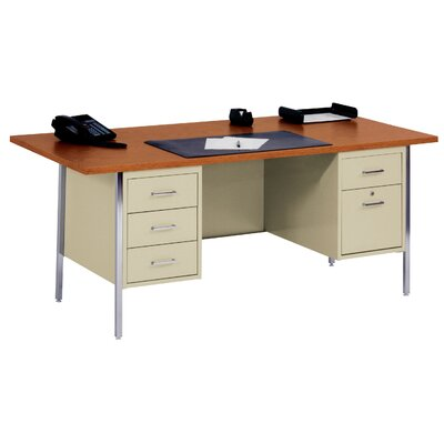 "Sandusky Cabinets 72"" W Double Pedestal Large Executive Desk with File Drawer"