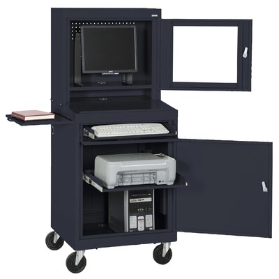 Sandusky Cabinets Mobile Computer Security Workstation with Slide-Out Shelf