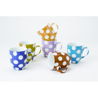 Yedi Houseware White Polka Dots 9 oz. Mug (Set of 6)