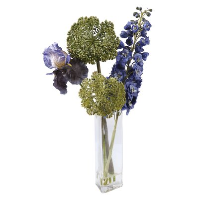 Winward International Square Glass Vase with Deliphinium/Iris